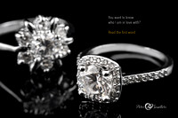 Luxury jewellery. White gold or silver engagement rings with dia